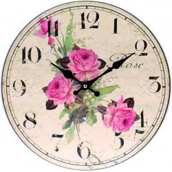 Hodiny z dreva rozkvitnutá ruža MDF . Fi 35 cm
