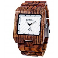 BEWELL Drevené náramkové hodinky zebrované Mark DH005 zebra