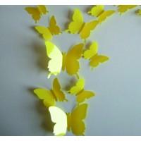 Farebná dekorácia - Žlté motýle, 1 balenie obsahuje 12ks