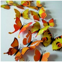 Žlté farebné motýle - 1 balenie obsahuje 12 ks