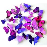 Samolepka ružovo - fialové motýle - 1 balenie obsahuje 12 ks FARBA