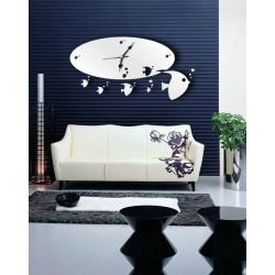 Moderné nalepovacie nástenné zrkadlové hodiny na stenu. Rozmer 60*39cm