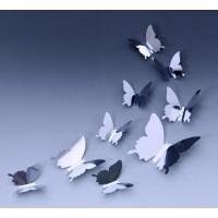 3D Zrkadlové motýle strieborné - 1 balenie obsahuje 12  SILVERks