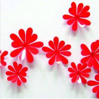 Červené kvety - 1 balenie obsahuje 12 ks