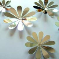 Zrkadlová samolepka - strieborné kvety - 1 balenie obsahuje 12 ks SILVER