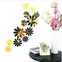 Trendy samolepka na stenu - Zlaté kvety - 1 balenie obsahuje 12 ks