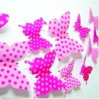 Nalepovacie motýle na stenu - Ružová bodka - 1balenie obsahuje 12 ks