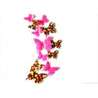 Kreatívne nálepky - Motýle hnedé a ružové kvetované - 1 balenie obsahuje 12 ks