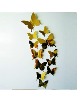 3D Zrkadlové motýle zlaté - 1 balenie obsahuje 12 ks