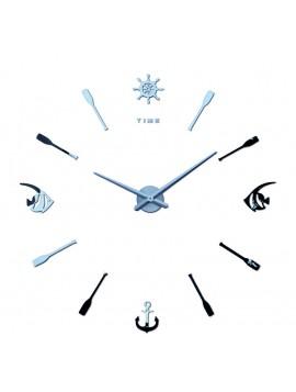 Moderné moderné nástěnné hodiny Ryba. SILVER.  Domáci salón dekorácie 3D zrkadlo Povrchové samolepky.