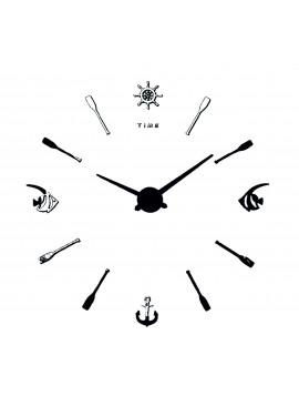Moderné nástěnné hodiny Ryba Ciferník čierna farba. Ručicky silver .