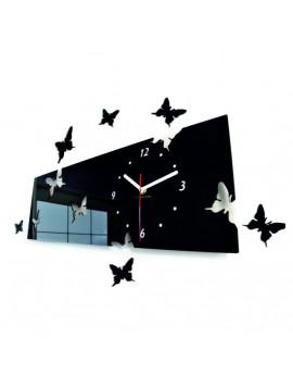 Štýlové nástenné hodiny motýle . Farba čierna. Rozmer  60 x 49 cm