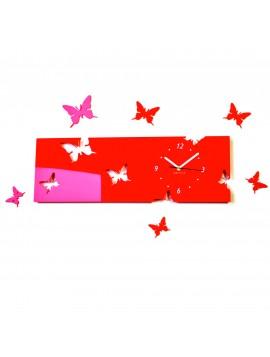 Nástenné hodiny plexisklo motýl  Farba červená. Rozmer  60 x 49 cm  SNOPIK