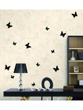 Elegantné samolepky na stenu čierne motýle - 1 balenie obsahuje 12 ks
