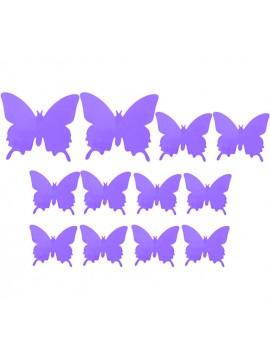 Motýľ nálepka. Farebná samolepka fialová svetlá - motýľ, 1 sada - 12ks