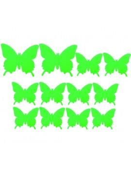 Farebná samolepka motýľ, fzelená svetlá - motýľ, 1 sada - 12ks