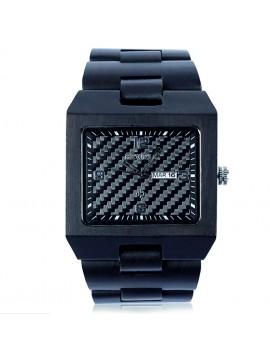 BEWELL Drevené náramkové hodinky čierne Tomás DH05 EBONY
