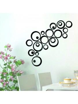 Nálepka  na stenu - čierne kruhy, cm  4x13.6, 4x11, 4x9, 4x5,5, 4x4, 4x bodky