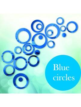 Dekorácia, Nálepka  na stenu  modré kruhy, cm  4x13.6, 4x11, 4x9, 4x5,5, 4x4, 4x bodky  MODRANKA