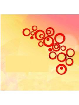 HOME Dekorácia, Nálepka  na stenu - červené kruhy, cm  4x13.6, 4x11, 4x9, 4x5,5, 4x4, 4x bodky