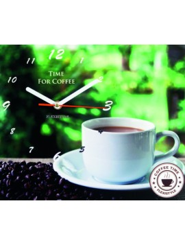 Nástenné hodiny ako obraz. Ranná káva. Rozmer  25 x 30 cm X0087 ARABIKA