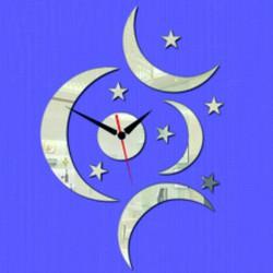 Zrkadlové nástenné hodiny zlaté bohatstvo mesiaca