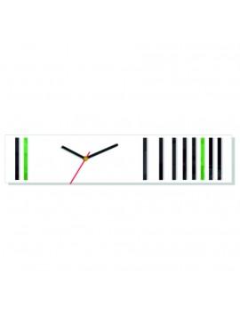 Nástenné hodiny reflex . Farba biela-čierna-zelená. Rozmer  12 x 56 cm