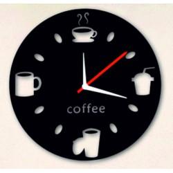 Nástenné hodiny zrkadlové pohoda na kávu čierne