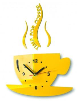 Nástenné hodiny slnečnica šálka káva. Farba žltá. Rozmer 36 x 32 cm