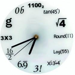 Hodiny matematika biele matné fi 30 cm