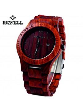 BEWELL Dřevěné náramkové hodinky DH04 RED SANDAL červené