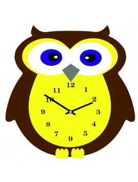 Nástenné hodiny pre deti. Sova  3D hodiny. Rozmer  35 x 35 cm. Farba hnedá - žltá