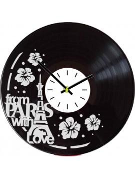 Nástenné hodiny vyrobené z vinylovej platne - PARÍŽ