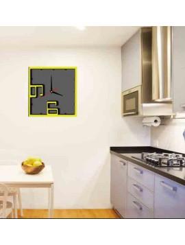 Hodiny na stenu  ISIDRO, farba: žltá, čierna, sivá