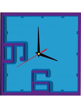 Nástenné hodiny z plastu  farba: fialová, modrá, svetlá modrá PARTAL