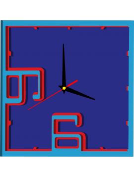 3D farebné nástenné hodiny - BEULAH, farba: svetlá modrá, červená, modrá