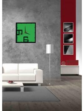 Nástenné hodiny kocka - ANTONIUS, farba: čierna, tmavá zelená, zelená