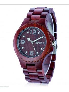 BEWELL Moderné drevené náramkové hodinky DH07 GRACIELA červené