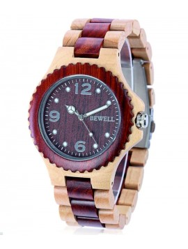 BEWELL drevené náramkové hodinky DH007 červeň