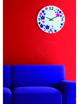 Nástenné hodiny plexisklo farebné kvety. Rozmer  30 x 30cm KVET