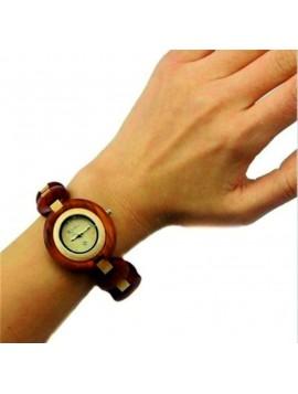 BEWELL dámske náramkové hodinky  drevené DH008 červené