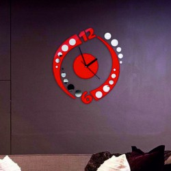 Nalepovacie zrkadlové hodiny na stenu červené  GUĽE.