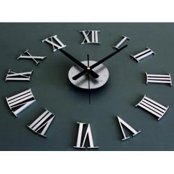 Nástenné hodiny rímske tmavo sivé až čierne. Materiál: PMMA, PLEXISKLO