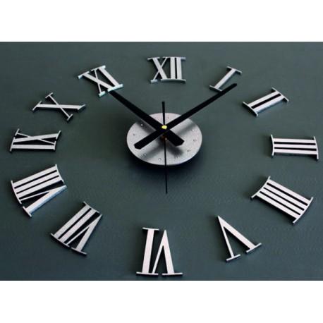 3D Nalepovacie nástenné hodiny kovové rímske čísla.