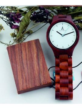 ALK VISION Kreatívne drevené náramkové hodinky DH012 MARGOT červené
