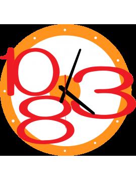 Nástenné hodiny MODERNE Exclusive, farba:oranžova,červené čísla