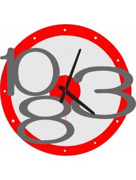 Moderné nástenné hodiny Exclusive, farba:červená, sivé čísla X0013