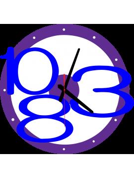 3D nástenné hodiny Exclusive, farba:fialová, tmavé modré čísla