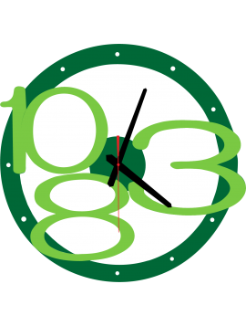 3D nástenné hodiny Exclusive, farba:zelená,svetlé zelené čísla