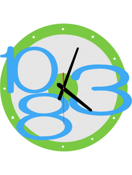 3D nástenné hodiny Exclusive, farba:svetlá zelená, modré svetlé čísla